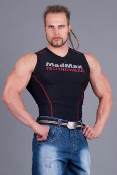 MADMAX Kompresní triko bez rukávů - black/red