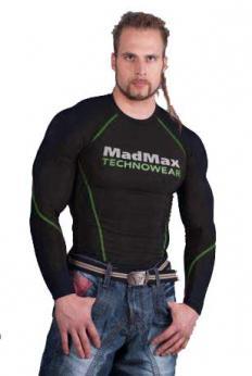 MADMAX Kompresní triko s dlouhým rukávem - black/green