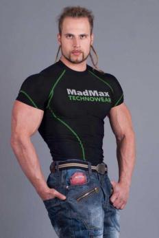 MADMAX Kompresní triko s krátkým rukávem -  black/green
